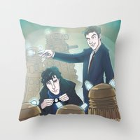 enerjax Throw Pillows featuring Sherlock and Ten by enerjax