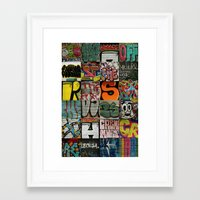grafitti Framed Art Prints featuring grafitti collage by laika in cosmos