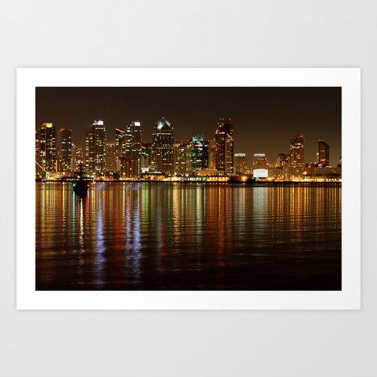 San Diego Skyline Night Art Print
