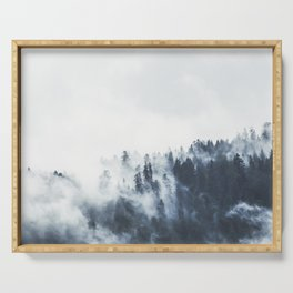 Foggy Forest Calm Landscape Serving Tray