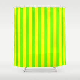 Super Bright Neon Yellow and Green Vertical Beach Hut Stripes Shower Curtain