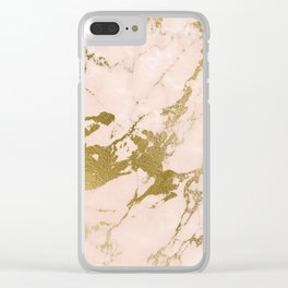 Champagne Blush Marble Clear iPhone Case