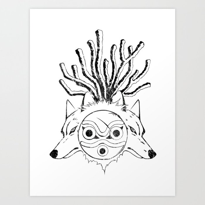 Wolf Princess (Black) Art Print