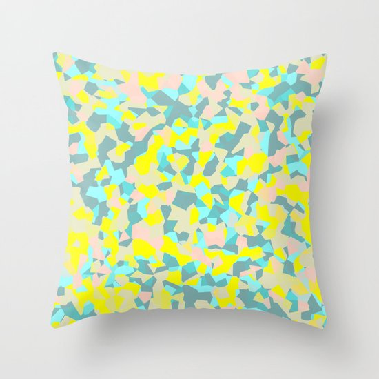 geometric mix/ bright Throw Pillow