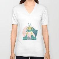 super hero V-neck T-shirts featuring Super Hero by J.M. Benga