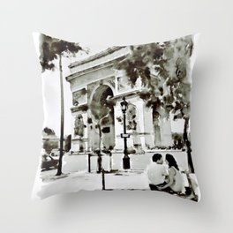 The Arc de Triomphe Paris Black and White Throw Pillow