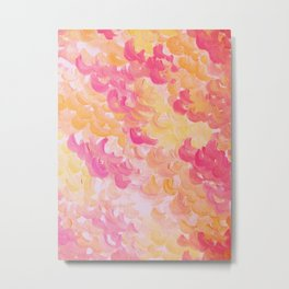 PINK PLUMES - Soft Pastel Wispy Pretty Peach Melon Clouds Strawberry Pink Abstract Acrylic Painting  Metal Print