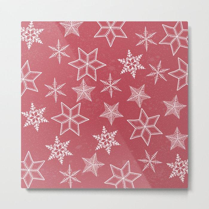 Snowflakes On Pastel Red Background Metal Print