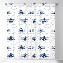 Vintage Airplane Clouds Navy Blue Blackout Curtain