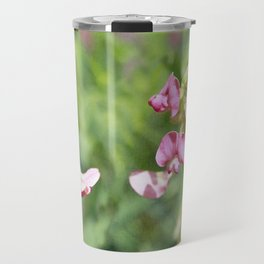 Vintage Inspired Pink and Green Wildflowers Travel Mug