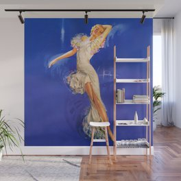"""Rhapsody in Blue"" Pinup by Rolf Armstrong Wall Mural"