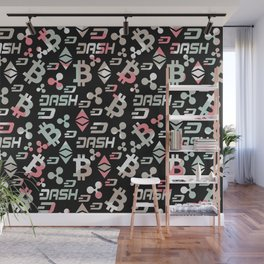 Cryptocurrencies pattern  Wall Mural