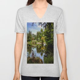 Lakeside reflections. Unisex V-Neck