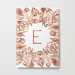 Letter E - Faux Rose Gold Glitter Flowers Metal Print