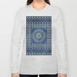 Old Bookshop Magic Mandala in Blue Long Sleeve T-shirt