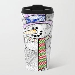 Coloured Snowman Metal Travel Mug