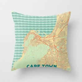 Cape Town Map Retro Throw Pillow