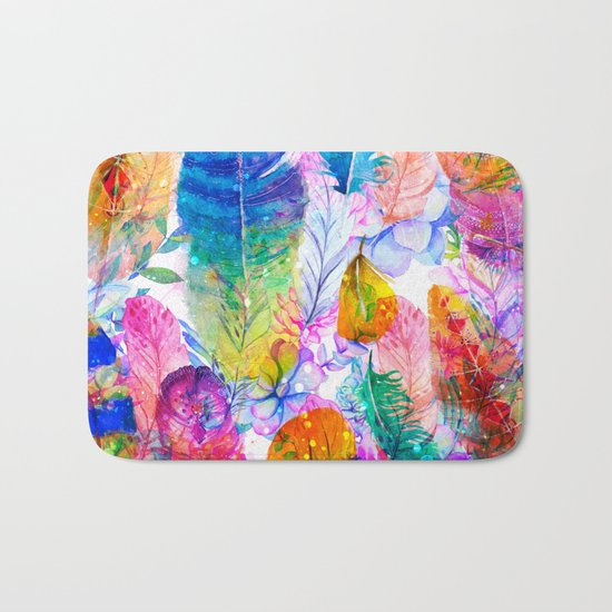 spring feathers Bath Mat