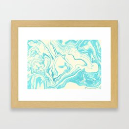 Funky Swirling Colors in Turquoise and Cream Framed Art Print