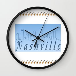 Nashville Skyline Blue Wall Clock