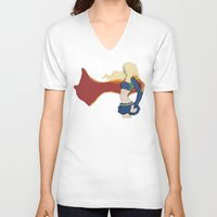supergirl V-neck T-shirts featuring Supergirl v1 by Hallowette