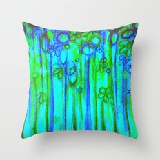 WINTER GARDEN -Bright Blue Green Neon Snowflake Floral Abstract Watercolor Painting and Digital Art Throw Pillow