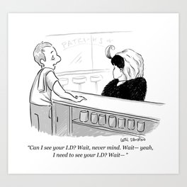 Confused Bartender Cartoon Art Print