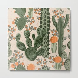 Green vintage succulent cactus and orange flowers seamless pattern. Beach wallpaper. Cream background Metal Print