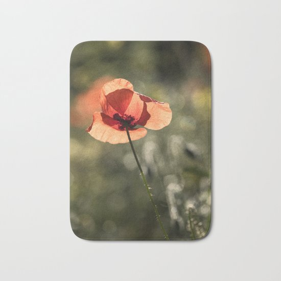 Enlightened Poppies at early backlight Bath Mat