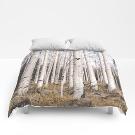 Tall Birch Forest Comforters