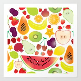 Healthy lifestyle. Fruits on white background Art Print
