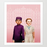 budapest hotel Art Prints featuring The Grand Budapest Hotel by Maripili