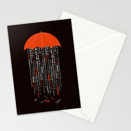 love rain in black Stationery Cards