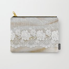 Bride lace - Luxury white floral elegant lace on cream silk fabric on #Society6 Carry-All Pouch