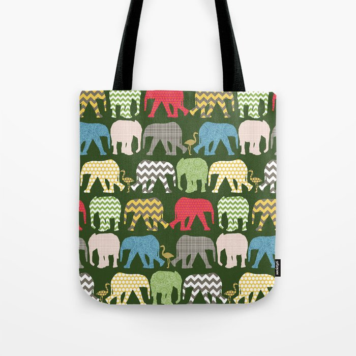 baby elephants and flamingos green Tote Bag