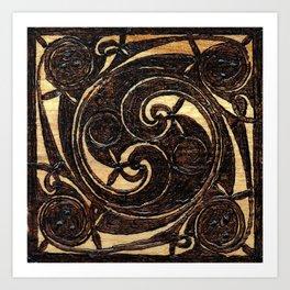 Wood Burnt Celtic Knot Art Print