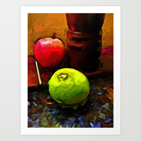 Green Lime with Red Apple and Brown Pepper Grinder Art Print