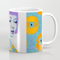 purple Mugs featuring The Observer by Natalie Foss