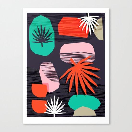 Dank - memphis style 80's throwback neon shape palm house plant retro vintage decor hipster art Canvas Print