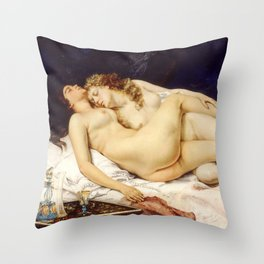 """Gustave Courbet """"The Sleep - Le Sommeil - Sleepers"""" Throw Pillow"""