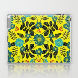 Bright Yellow, Red, Turquoise & Navy Blue Floral Pattern Laptop & iPad Skin