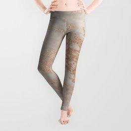 Rose Gold Copper Glitter Metal Foil Style Marble Leggings