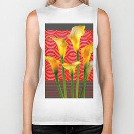 White Lily Amoung The Golden Calla Lilies Biker Tank