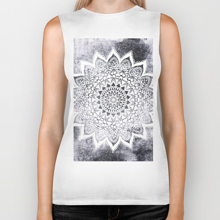 BOHO WHITE NIGHTS MANDALA Biker Tank