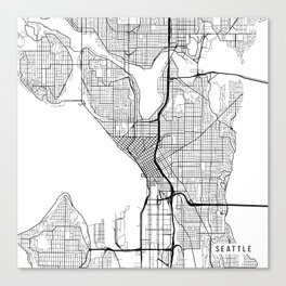 Seattle Map, USA - Black and White Canvas Print