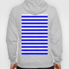 Narrow Horizontal Stripes - White and Blue Hoody