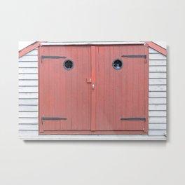 Red Port Hole Door Metal Print