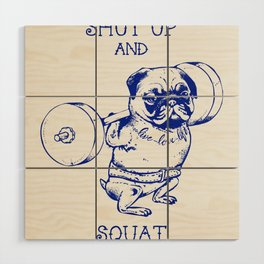 Pug Squat Wood Wall Art