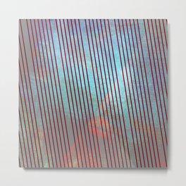 Red stripes on grunge background Metal Print