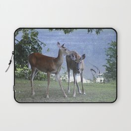 Early Evening Visitors Young Deer -Debra Cortese photo art Laptop Sleeve